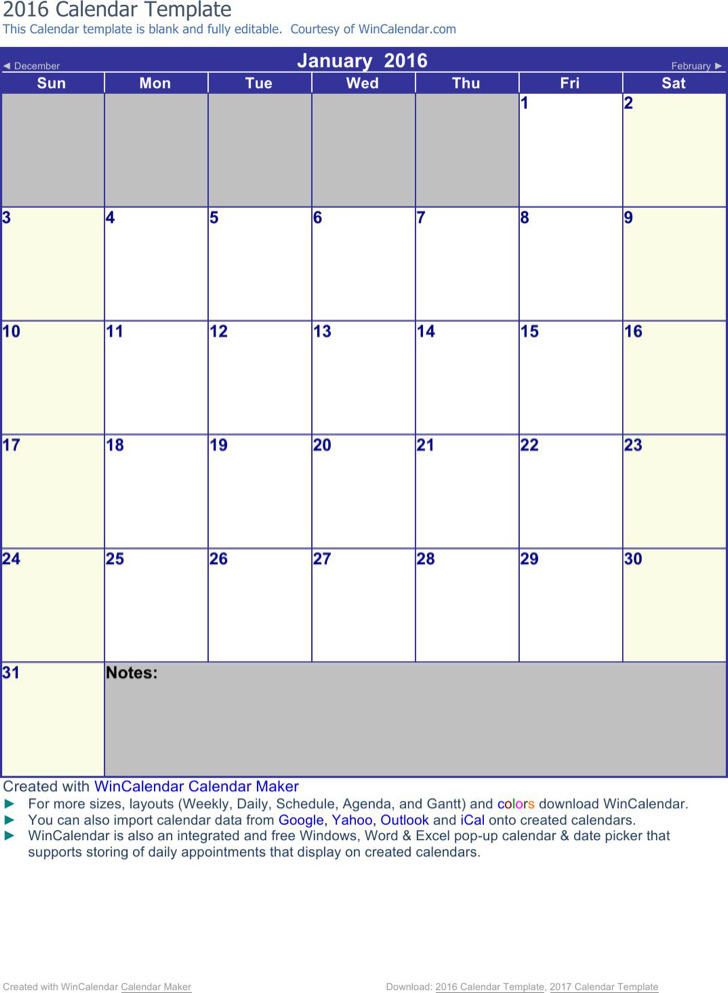 Blank Apointment Calendar Template