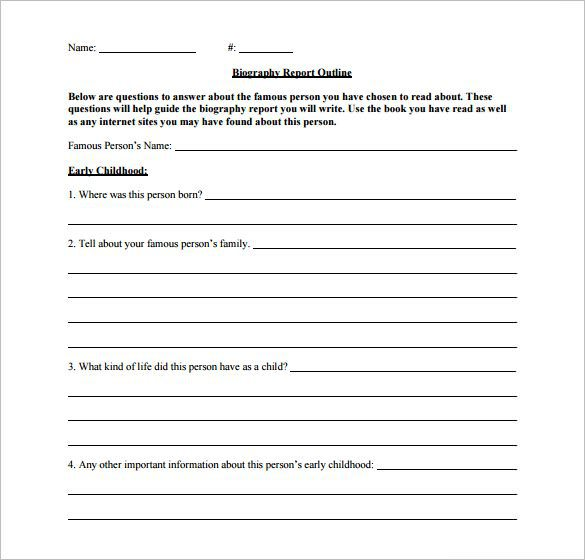 Blank Biography Report Outline Template Download PDF