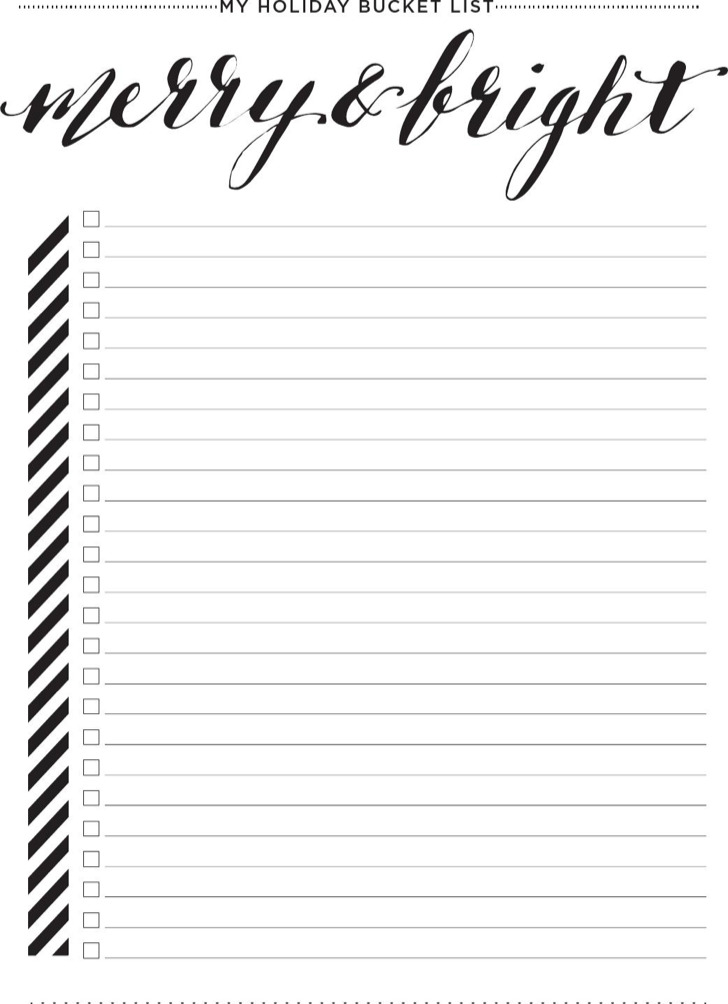 Blank Bucket List Template
