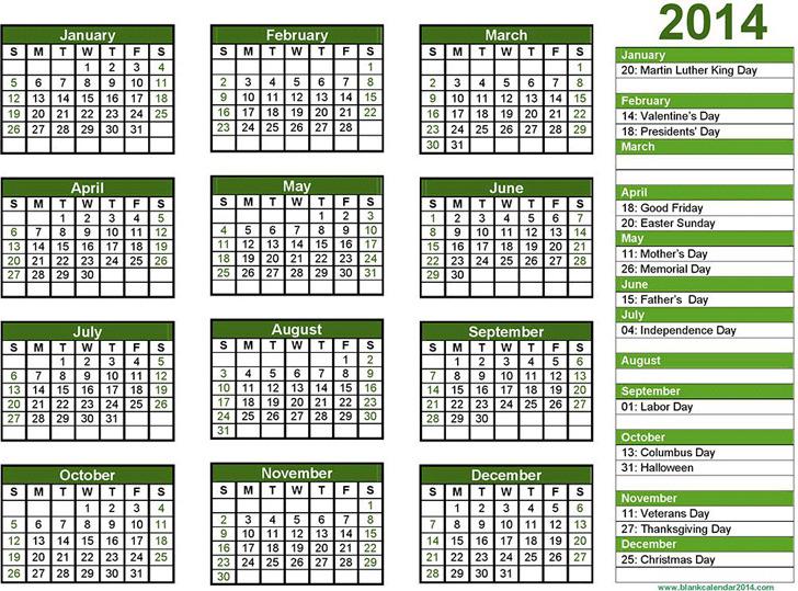 Blank Calendar 2014 Landscape