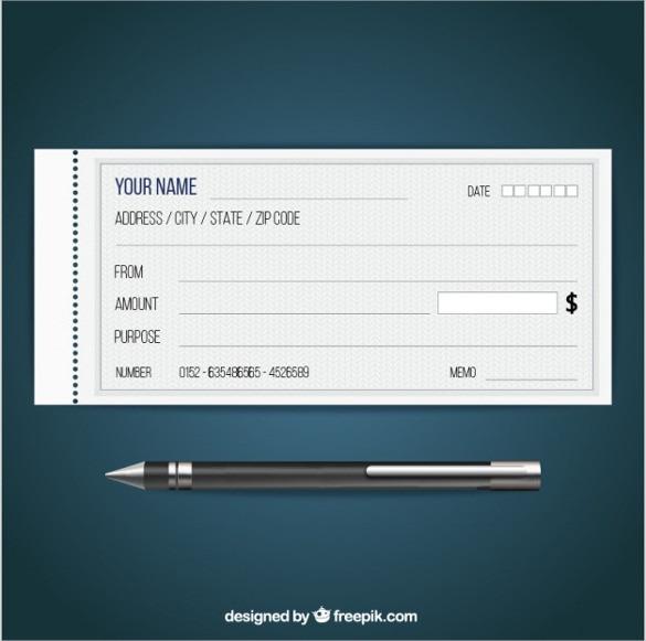 Blank Check Free Vector