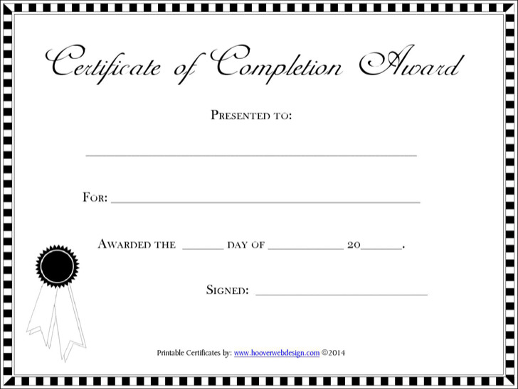 Download Completion Certificate Template For Free Tidytemplates