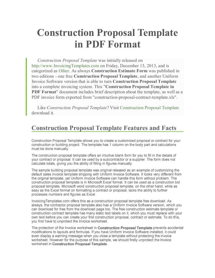13 construction proposal template free download
