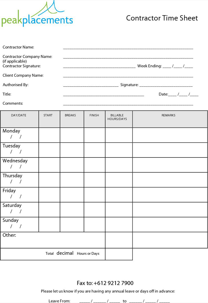 Blank Contractor Timesheet Template Download In Pdf Format