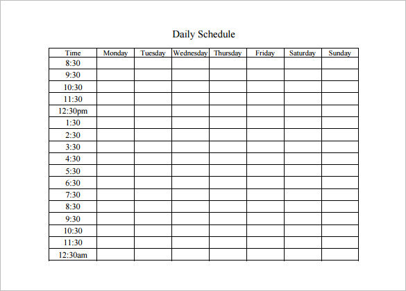 Blank Daily Activity Schedule Template PDF Download
