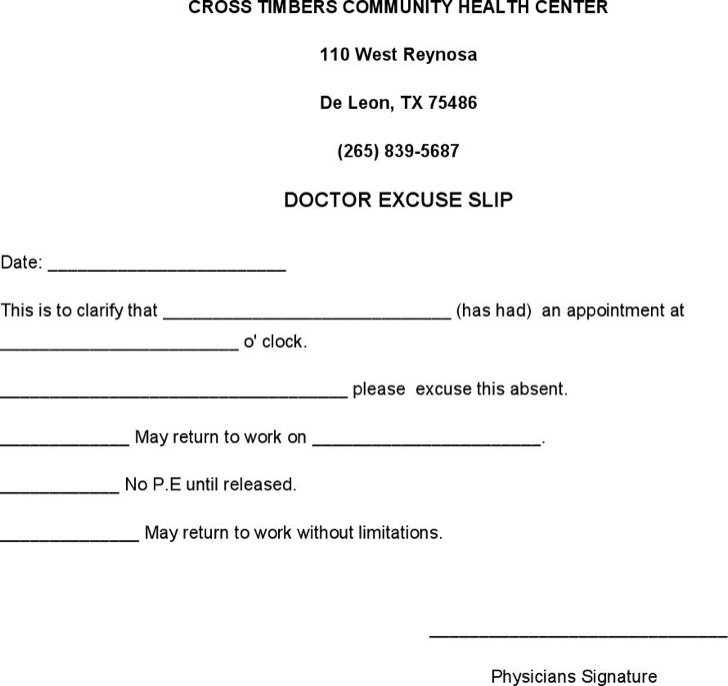 Blank Doctors Excuse Slip Note For Work Download