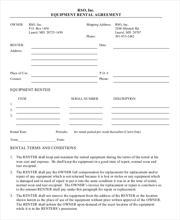 Blank Equipment Rental Agreement Template