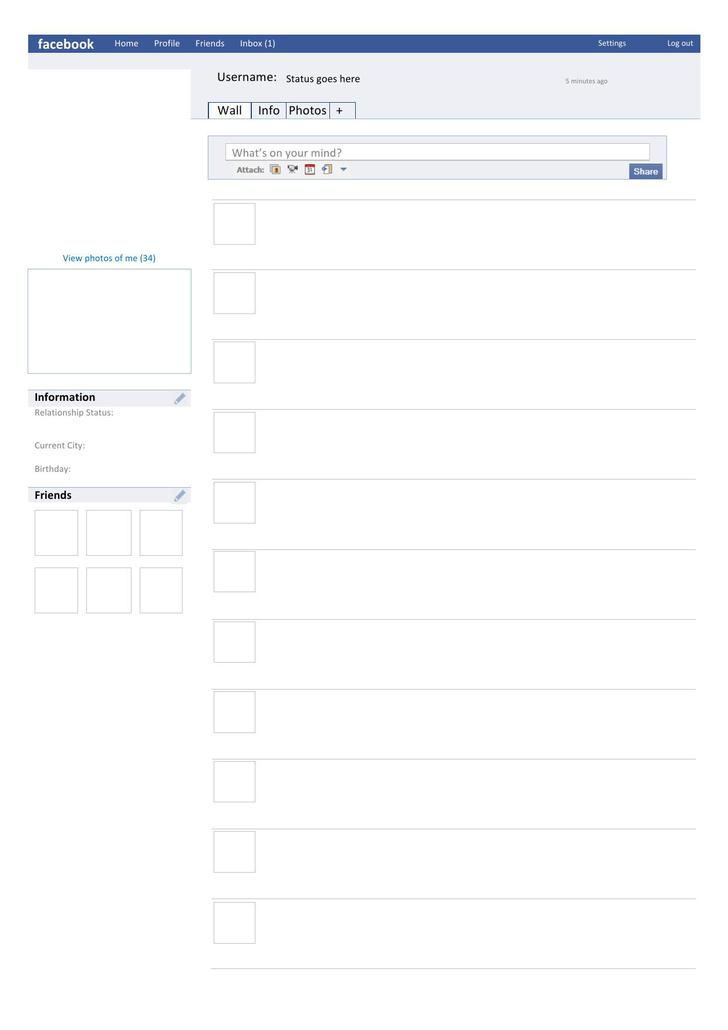 Blank Facebook Page Template Word Doc Download