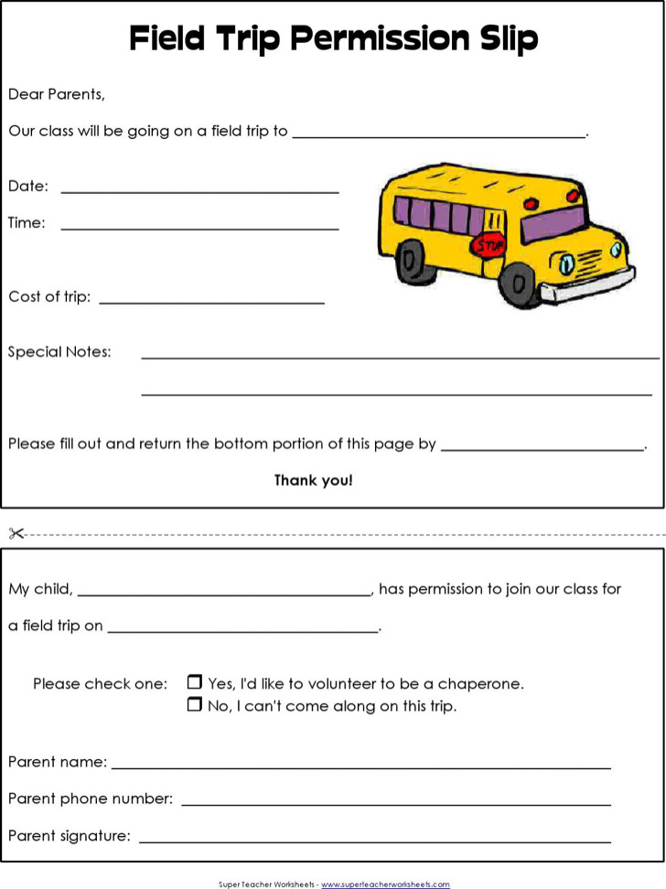 Blank Field Trip Permission Slip Template For School