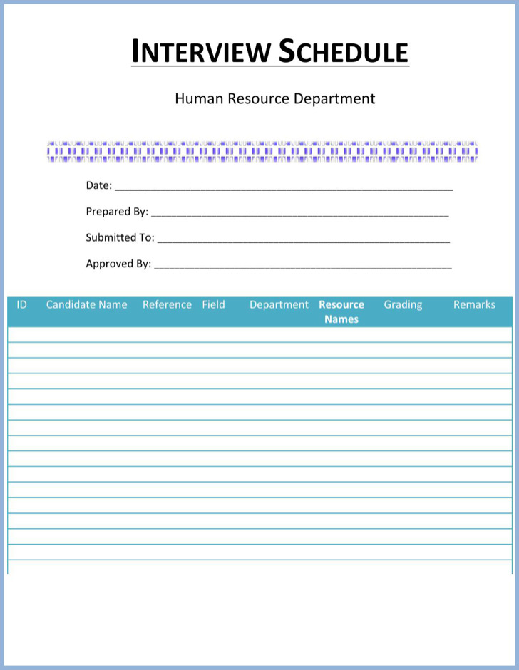 8 Interview Schedule Templates Free Download