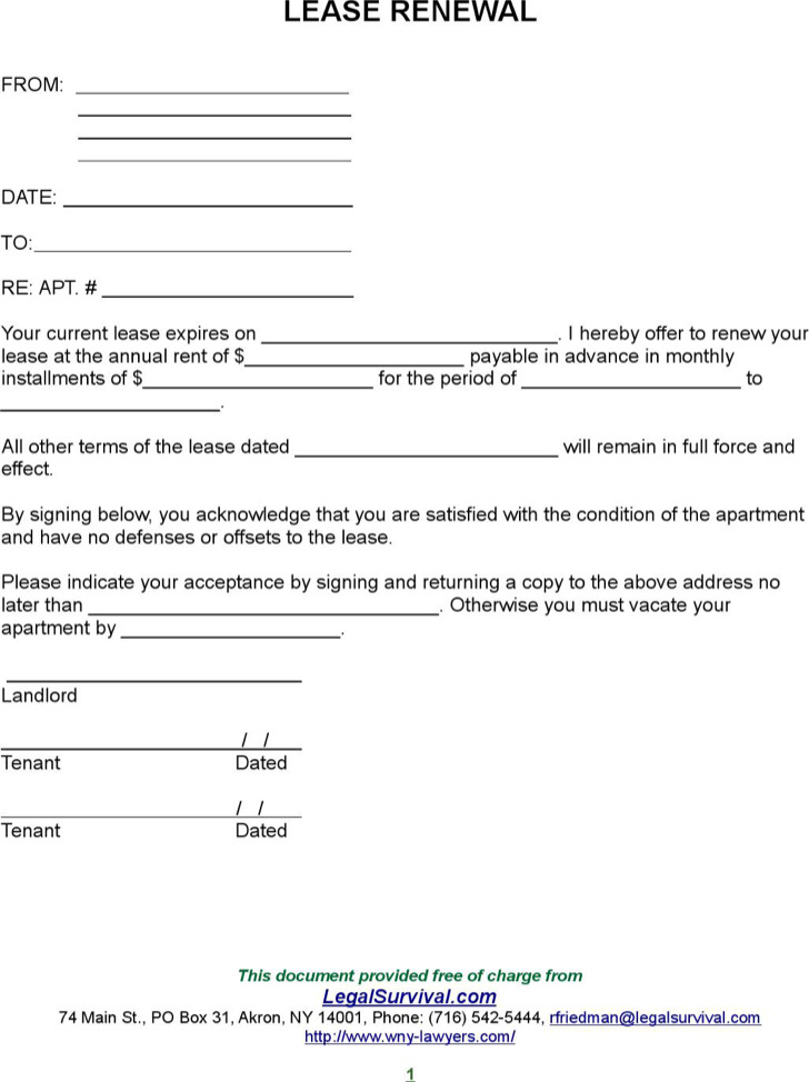 Blank Lease Renewal Form Template