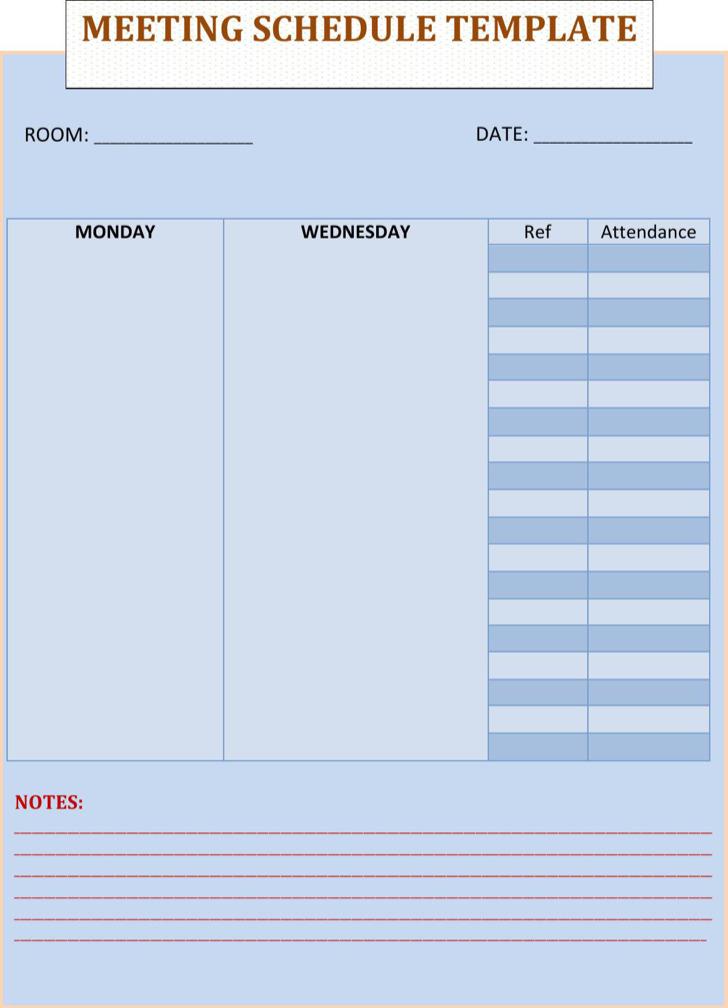 Blank Meeting Schedule Template Free Download