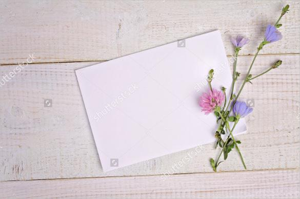 Blank Message Postcard and Bouquet of Flowers