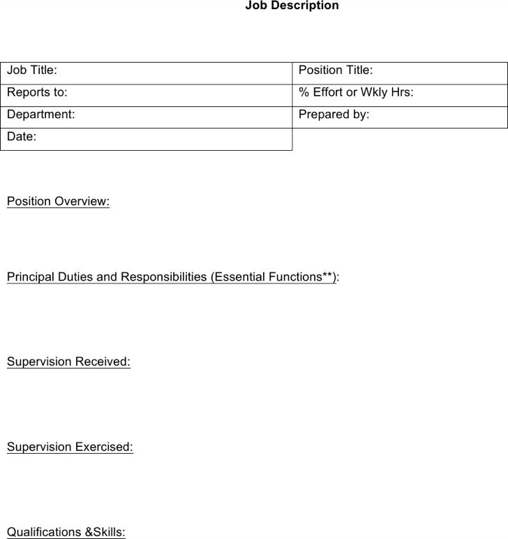 Blank Mit Job Description Template