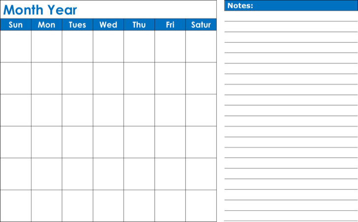 Blank Monthly Calendar Template Download