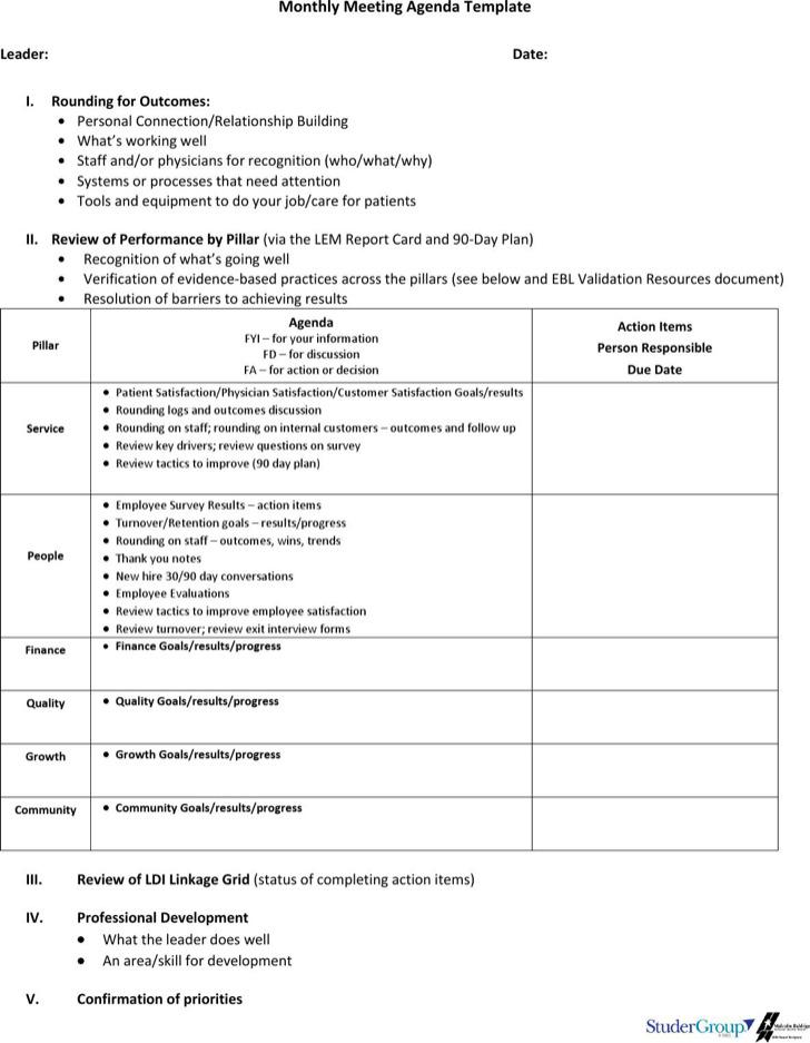 Blank Monthly Meeting Agenda Sample
