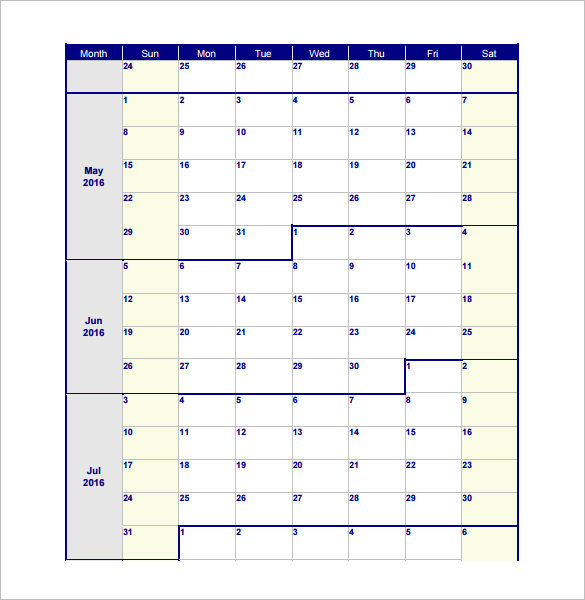 Blank Monthly Work Schedule Template PDF Format