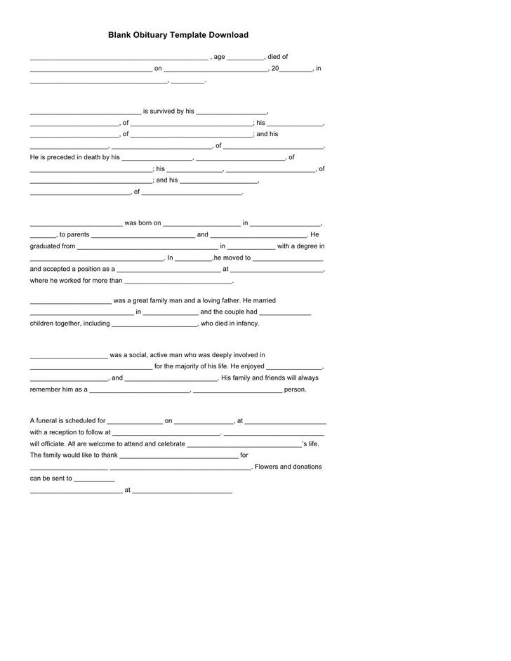 Blank Obituary Template Doc file Download