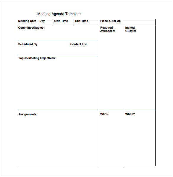 Blank Printable Meeting Agenda Template Free Download