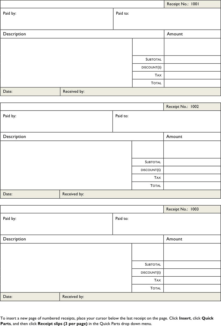 Download Blank Receipt Template For Free Tidytemplates