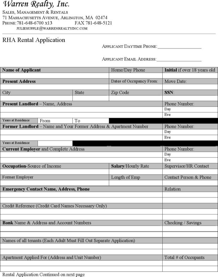 Blank Rental Application Form Template