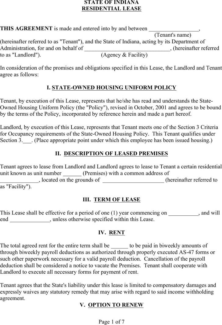 Blank Residential Rental Agreement