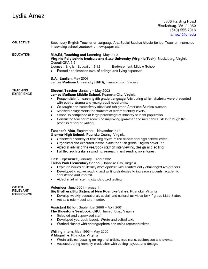 Blank Resume Template for Faculty