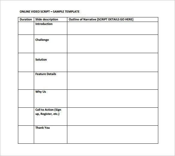 Blank Video Script Outline Template PDF Download
