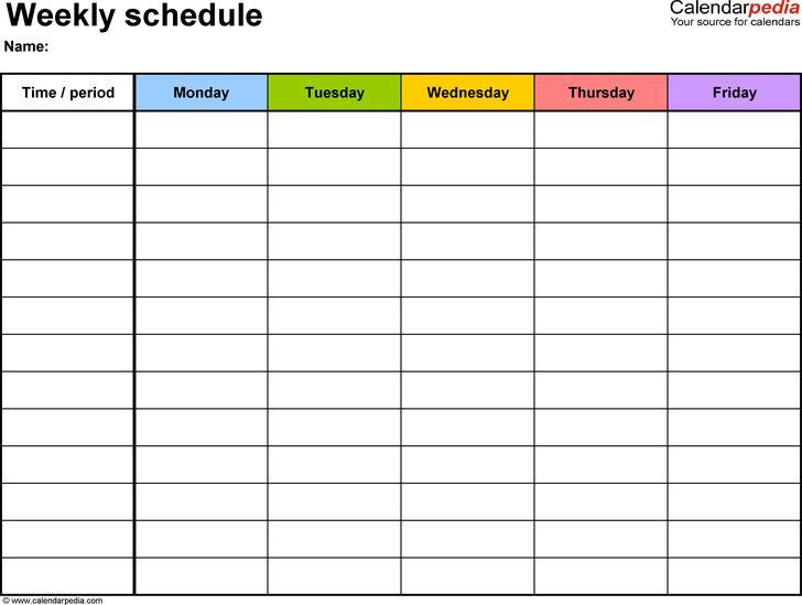 Blank Weekly Work Schedule Template Excel Download