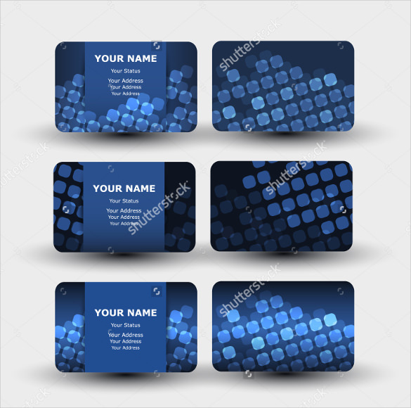 Blue Business Cards with Squares Pattern