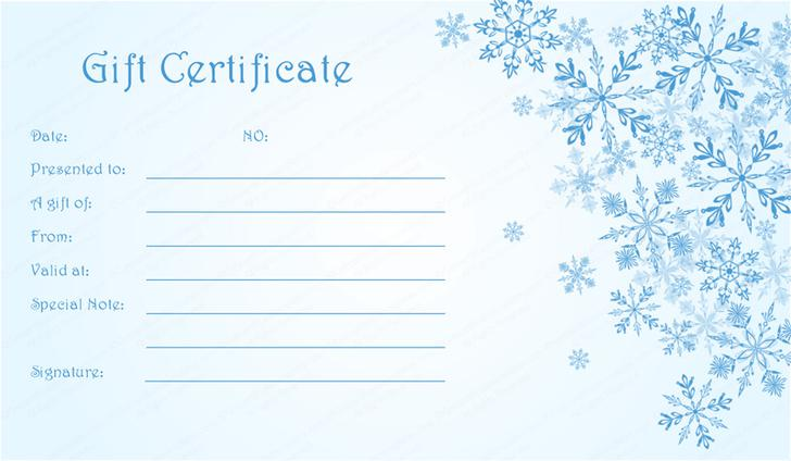Blue Snowflakes Christmas Gift Certificate Template