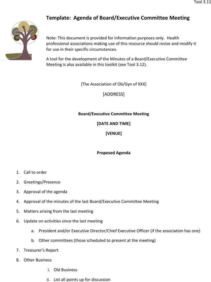 Board Blank Meeting Agenda Template