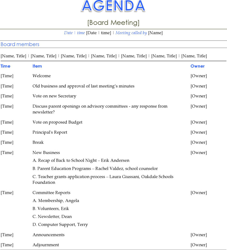 Board Meeting Agenda Template 1