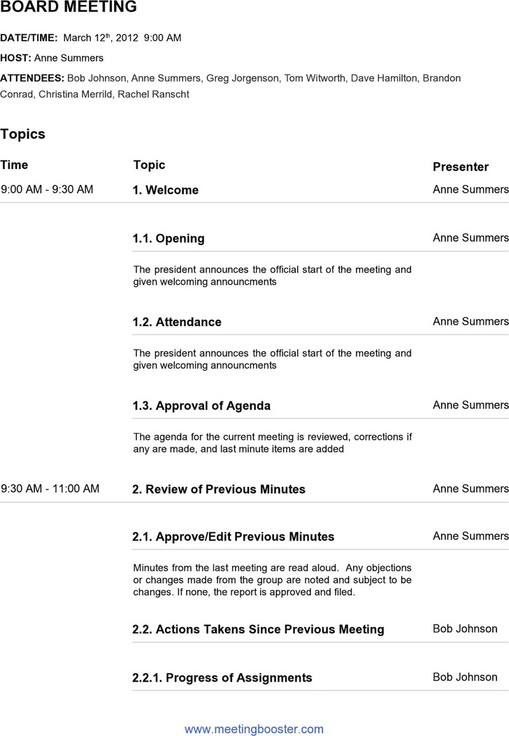 Board Meeting Agenda Template 3