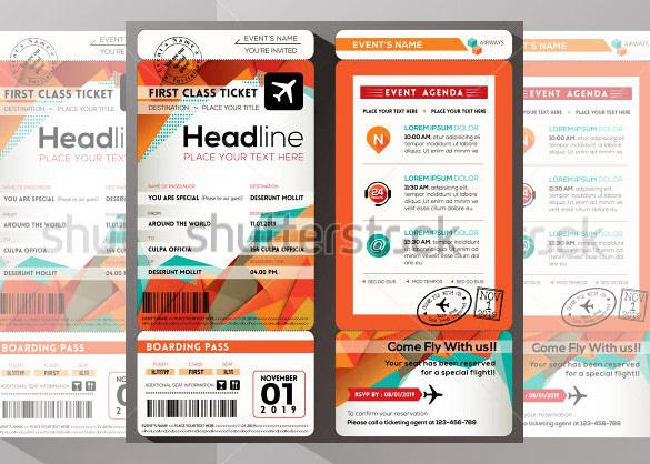 Boarding Pass Invitation Template Psd
