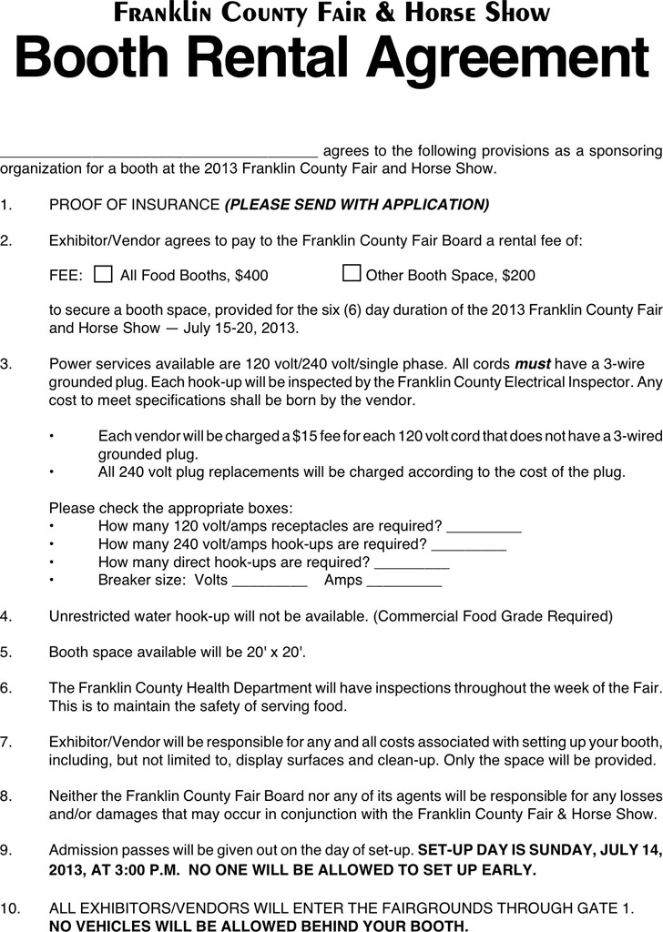 Booth Rental Agreement 2