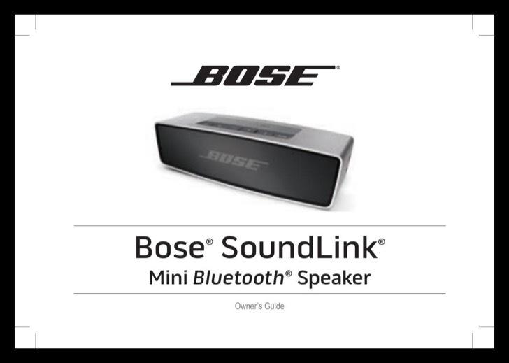 Bose Owners Manual Sample
