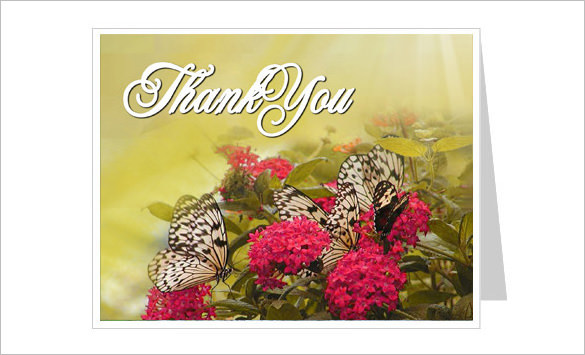 Bouquet Thank You Card Template With Preprinted Title