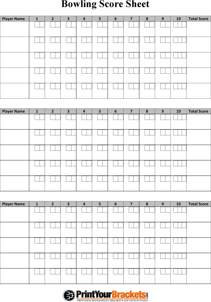 Bowling Score Sheet 1