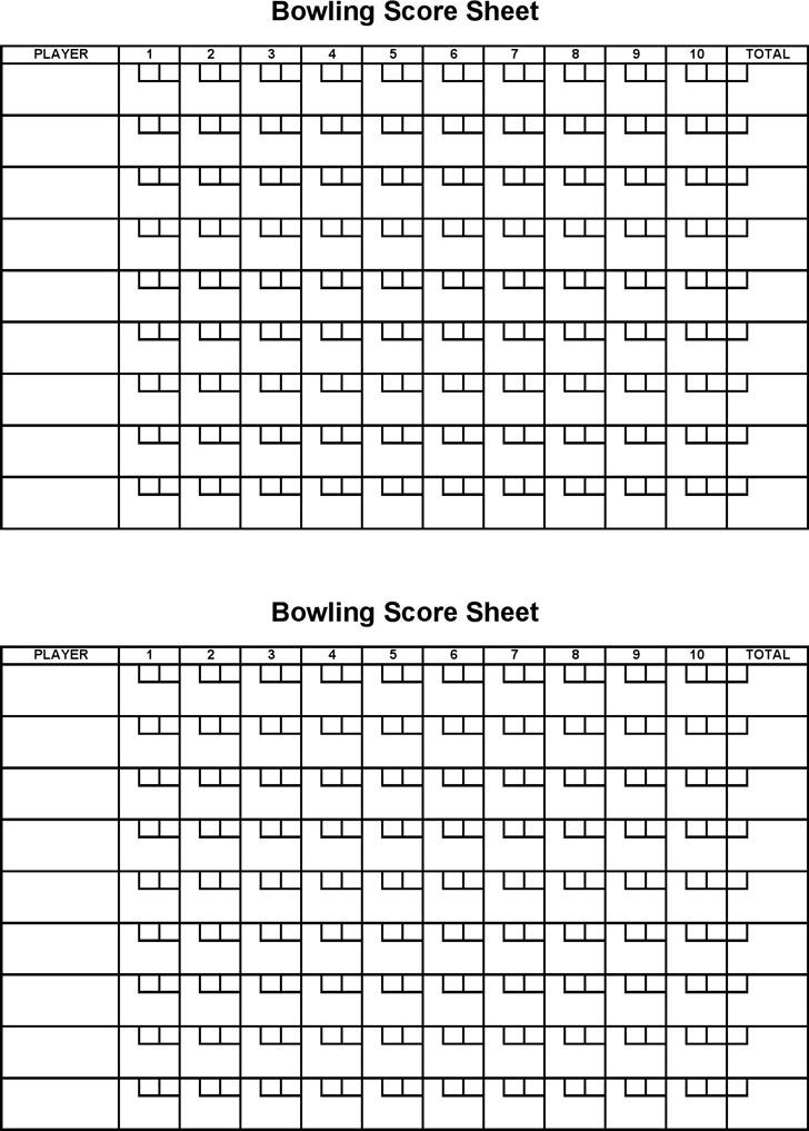 Bowling Score Sheet 3
