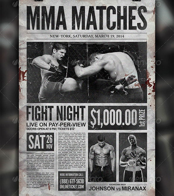 Boxing Showdown Old Newspaper Template PSD Format