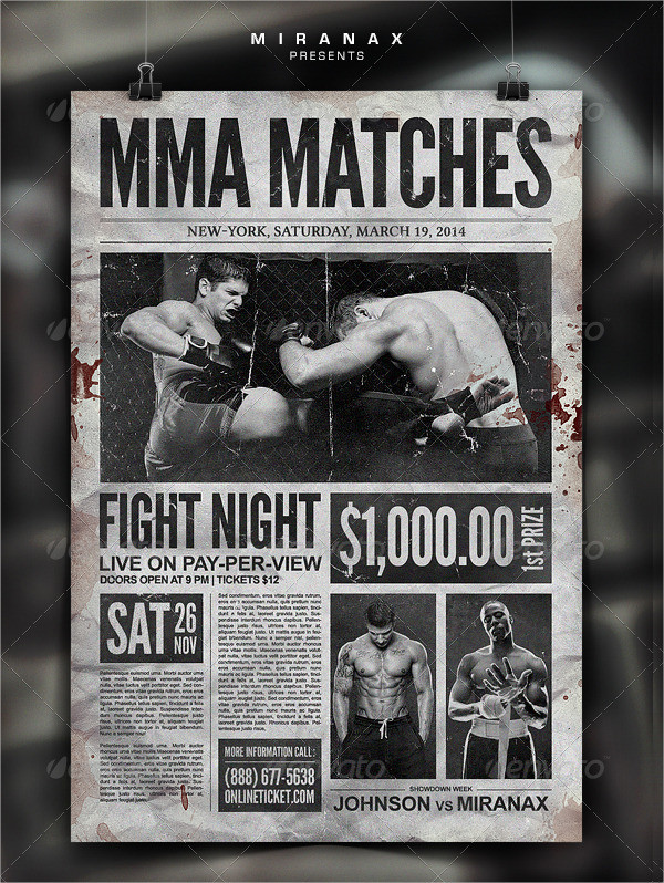 Boxing Showdown Old Newspaper Template