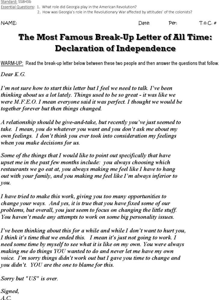 Break Up Letter Declaration