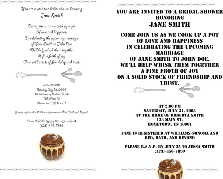 Bridal Shower Invitation Template 1