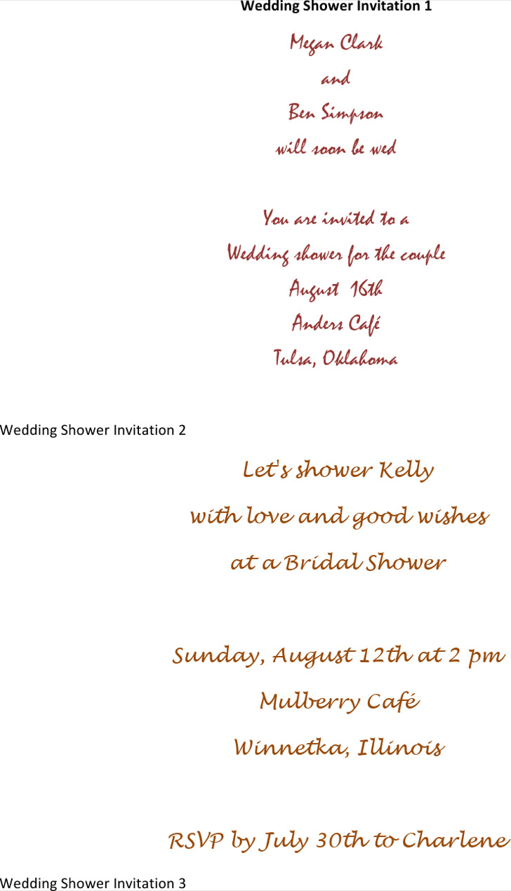 Bridal Wedding Shower Invitation Template