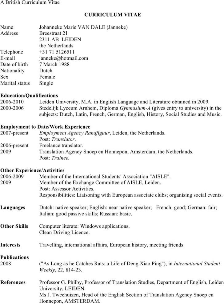 British Classic Resume Template