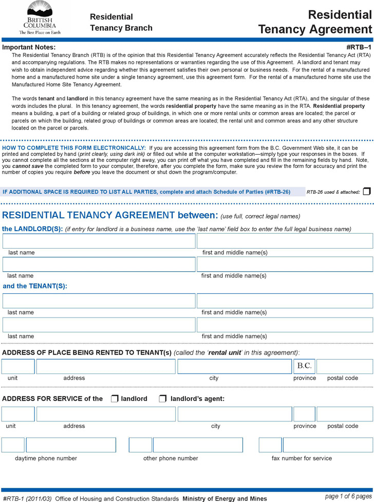 4 British Columbia Rent And Lease Template Free Download