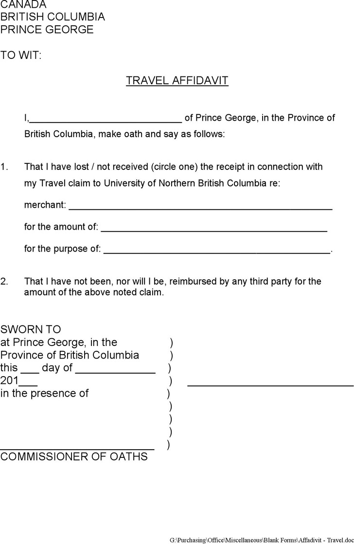 7  british columbia affidavit form free download