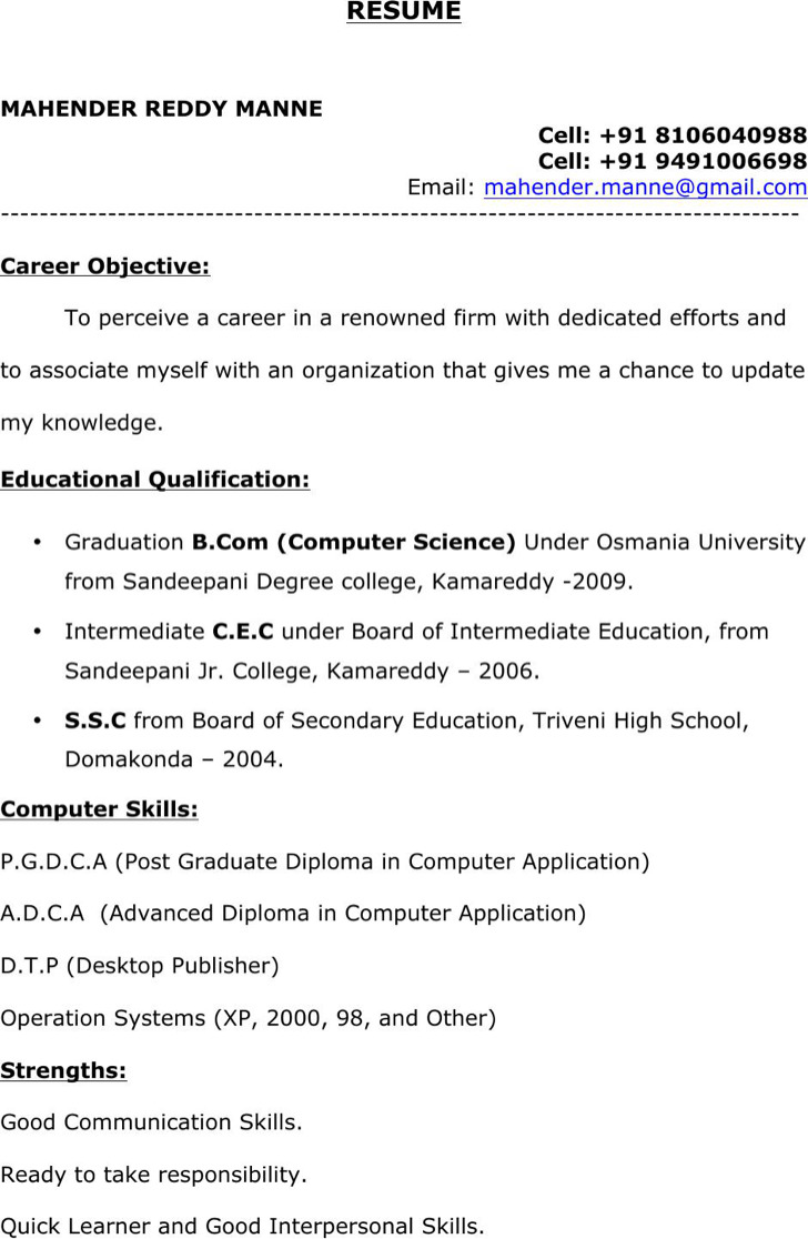 Btech Freshers Resume Format Template