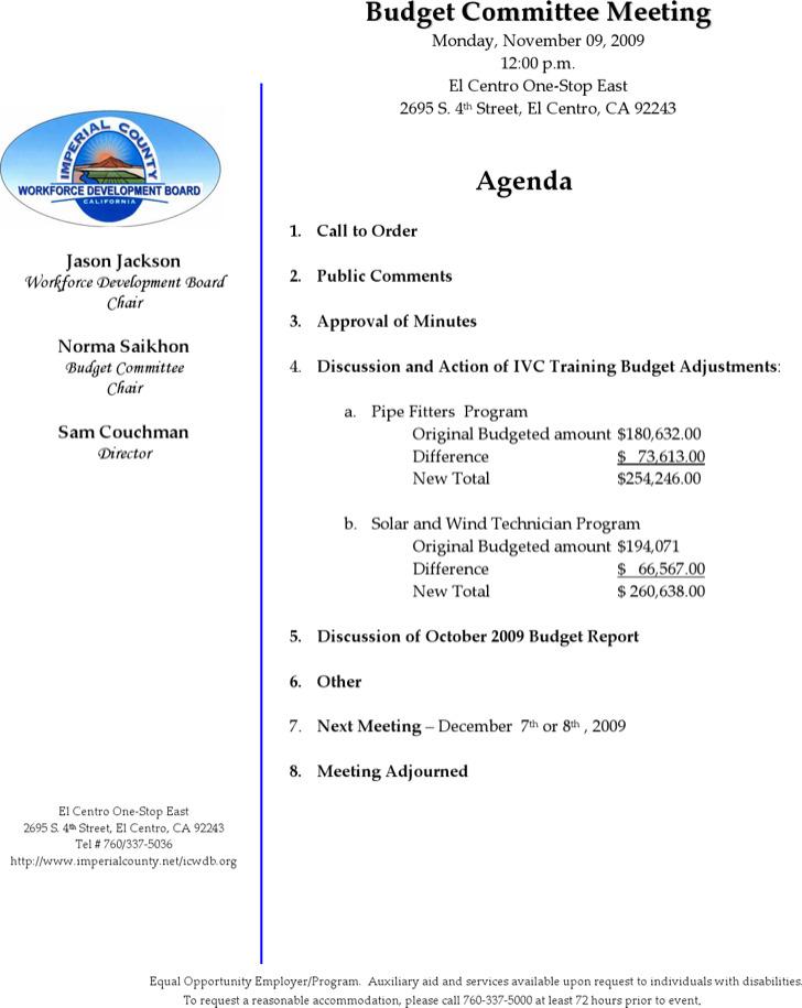 Budget Committee Meeting Agenda Sample